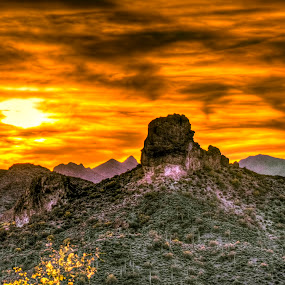 Superstition Mountains Sunset by Marilyn Magnuson - Landscapes Sunsets & Sunrises ( desert, desert cactus, desert sunset, superstition mountains, sunset, cactus )