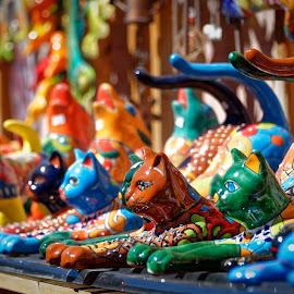 Colorful Cats by Howie George - Artistic Objects Other Objects ( multicolored, cats, marketplace, santa fe, fiesta, new mexico, colors )