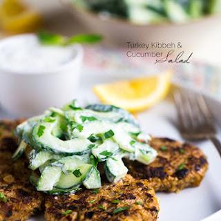 Turkey Kibeh With Cucumber Salad & Mint Yogurt Sauce