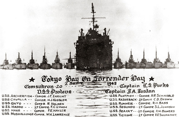 USS Proteus subtender and 12 subs in Tokyo Bay, Sept. 2, 1945
