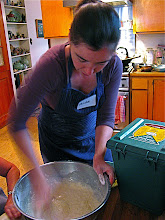 Photo: Phoebe making batter for crepes
