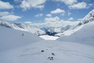 Photo: Skiing down the Haig icefield towards Turbine Canyon.