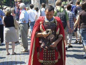 "Photo: Gladiator checking his cell phone. ""Is it time for my event?'"