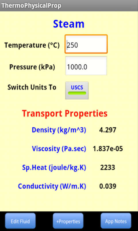Thermo Physical Properties- screenshot