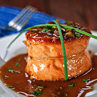 Pan Seared Salmon Fillet with Apricot Jalapeno Butter Sauce.