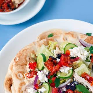 Greek Chicken & Pepper Hummus Pita Wrap.