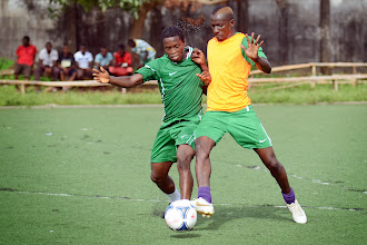 Photo: George 'Kweku' Davis and Suliman Sesay [Leone Stars Training Camp in advance of Tunisia Game, June 2013 (Pic: Darren McKinstry)]