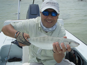 Photo: We set our good friends and customers Ed Yen and Ken Quintenz up at the Andros Island Bonefish Club this week. 1st day yesterday and here's Ed with a nice fish from the North Bight. Weather supposed to get better and more pics to come.
