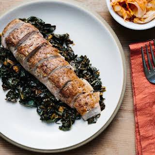 Pork Tenderloin with Kale and Kimchi.