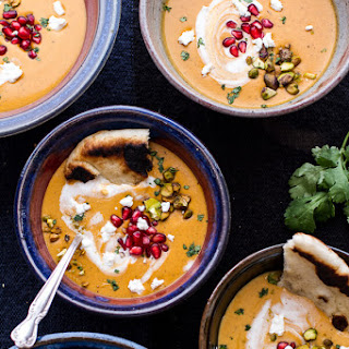 Moroccan Butternut Squash and Goat Cheese Soup w/Coconut Ginger Cream + Pistachios..