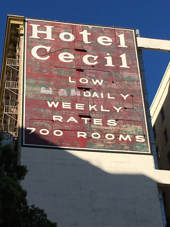 The crimson signage for the Hotel Cecil remains to this day.