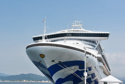 Grand Princess smiles for her closeup.jpg - The Grand Princess in port in Manzanillo. They have added the Blue Sea Witch on her hull.