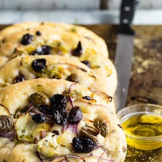 Focaccia Bread with Olives and Artichokes Recipe
