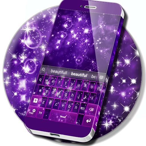 Violet Sparkly Galaxy Keyboard
