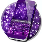 Violet Sparkly Galaxy Keyboard