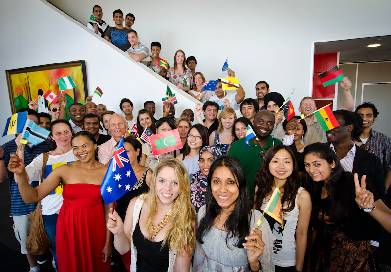 Photo: Griffith International students from Commonwealth countries supporting the Gold Coast bid for the 2018 Commonwealth Games