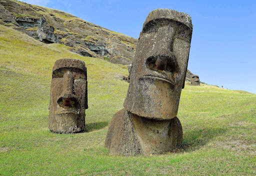 There are 887 moai, carved from rock, throughout Easter Island.