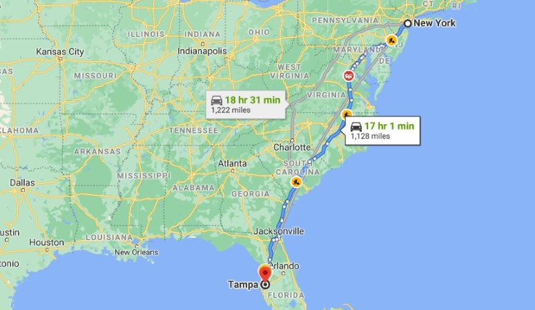NY to FL cross country moving map