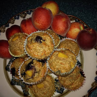 Peach & Blueberry Oat Bran Muffins.