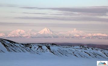 Photo: Marvellous view over Avacha bay - from left volcanos Mutnovsky, Vilyuchik and Gorely