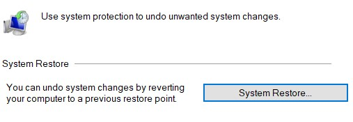 System Restore button in the System Properties window