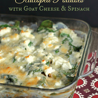 Fast and Light Scalloped Potatoes with Spinach and Goat Cheese
