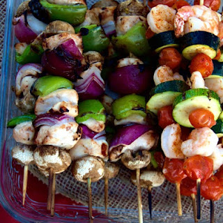Grilled Chicken and Shrimp Kabobs.
