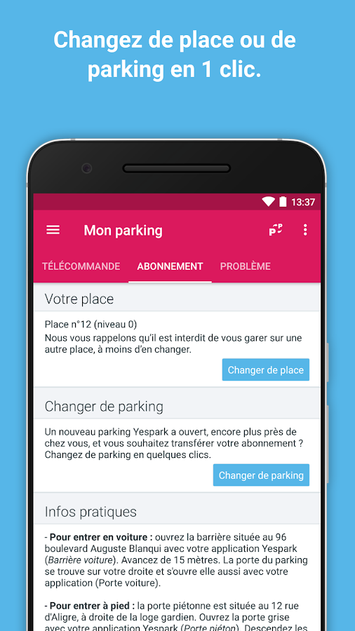 Yespark: parking lot rental- screenshot