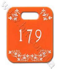 Photo: Номерок для гардероба из оранжевого акрила. Гравировка, заливка краской