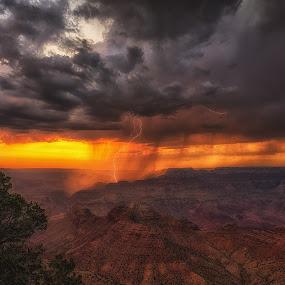 Grand Canyon Lightning by Bryan Snider - Landscapes Weather ( thunder, lightning, arizona lightning, monsoon, thunderstorm, sunset, arizona, weather, national parks, storm chasing, nikon, grand canyon lightning, rain, grand canyon,  )