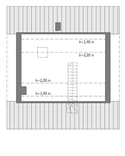 Miarodajny - wariant VI - C333f - Rzut poddasza do indywidualnej adaptacji (26,2 m2 powierzchni użytkowej)