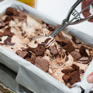 Kahlua Mudslide Ice Cream w/Chocolate Cookie Chunks + Mocha Fudge Swirl.