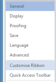Click on 'Customize Ribbon' to create short cut in Word