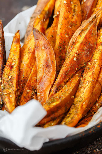 Baked Sweet Potato Fries with Zaatar and Tahini