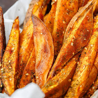 Baked Sweet Potato Fries with Za'atar and Tahini.