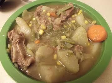 beef soup from (sopa de rez, salvadoreno)