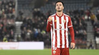 Lazo celebrando su gol contra el CD Mirandés.