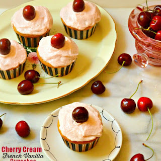 Cherry Cream French Vanilla Cupcakes.