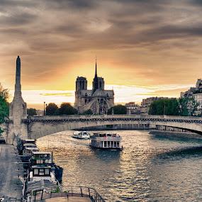 Notre Dame de Paris by Dimitri Foucault - Travel Locations Landmarks ( seine, paris, dame, pwclandmarks, hdr, boat, notre )