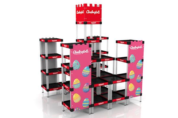 exhibidor modular plástico con bandejas y gráfica payloader PL23