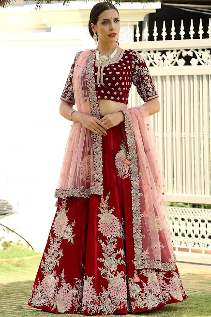 Bridal Lehenga in Red With Silver and Resham Work on Velvet