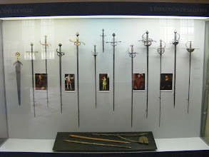 Photo: There are a wide variety of exhibits in the Museum, such as this one showing the evolution of the hand guard in Renaissance-era weapons.