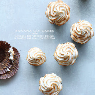 BANANA CUPCAKES with BOURBON BUTTERSCOTCH FILLING and TOASTED MARSHMALLOW FROSTING Recipe