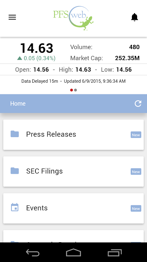 PFSweb Investor Relations (IR) - screenshot