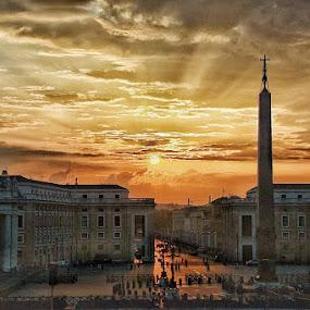 Sunshine by Juan Tomas Alvarez Minobis - City,  Street & Park  Vistas ( rome, square, sunshine, church, twilight photography )