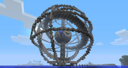Photo: an armillary (celestial sphere), built by Daniel Andersen. Check out his image gallery at http://maritova.imgur.com/minecraftarmillary