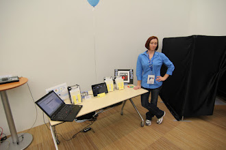Photo: Monica manning the booth.  Notice all the +1's we had on our sign!