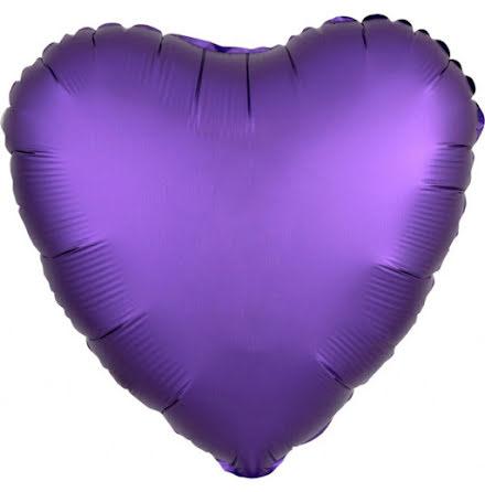 Folieballong Satinhjärta lila, 43 cm