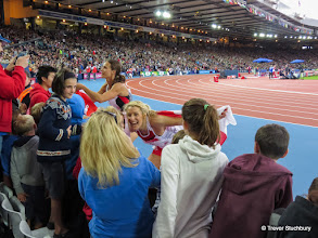 Photo: Glasgow 2014 Athletics. Brianne Thiesen-Easton (Canada). Gold medal & Jessica Zelinka (Canada) Silver medal) Women's Heptathlon