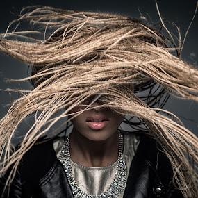 Bad Hair Day by Jon-Eirik Boholm - People Portraits of Women ( ebeltoft modeller, ida kjeldsberg,  )